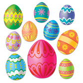Easter Decorations Assorted Easter Egg Cutouts Image