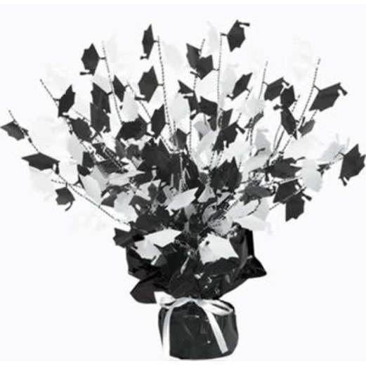 Graduation Decorations Black and White Graduation Cap Centerpiece Image