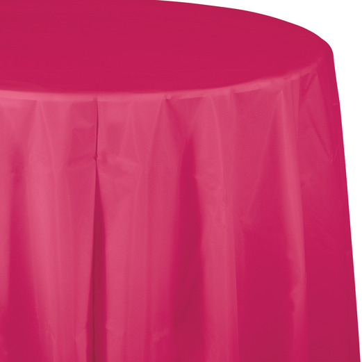 Valentine's Day Table Accessories Round Table Cover Hot Pink Image