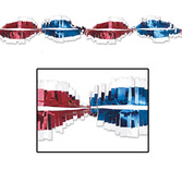 4th of July Decorations Red-Silver-Blue Metallic Twirl Garland Image