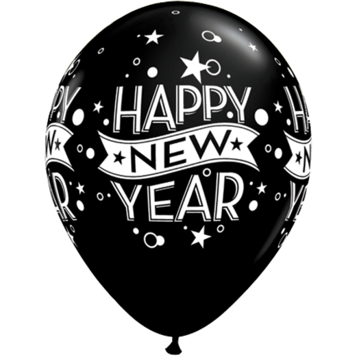 New Years Balloons Black Classic Happy New Year Balloon Image