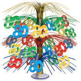 Birthday Party Decorations 80th Multicolor Cascade Centerpiece Image