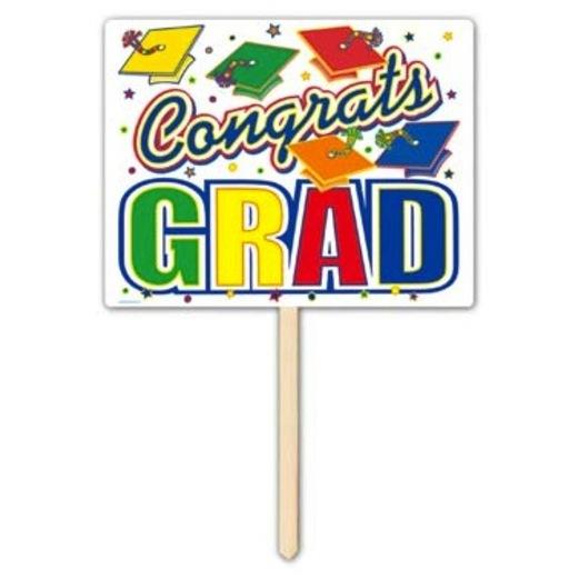 Graduation Decorations Congrats Grad Yard Sign Image