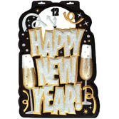 New Years Decorations HNY Glittered 3D Sign Image