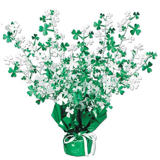 St. Patrick's Day Decorations Metallic Shamrock Burst Centerpiece Image