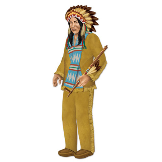 Thanksgiving Decorations Jointed Indian Chief Cutout Image