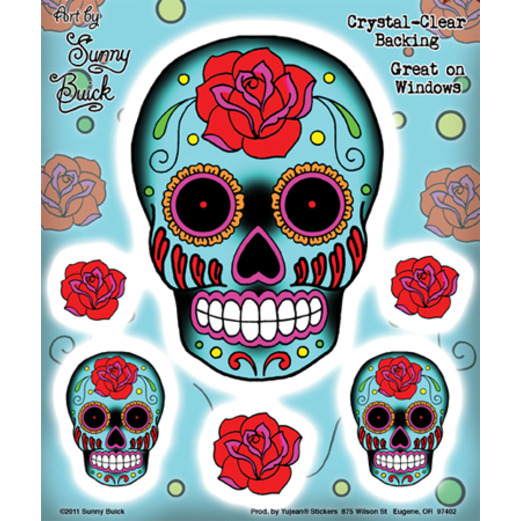 sugar skull and rose stickers