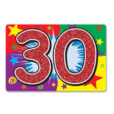 Birthday Party Decorations Glittered 30 Sign Image