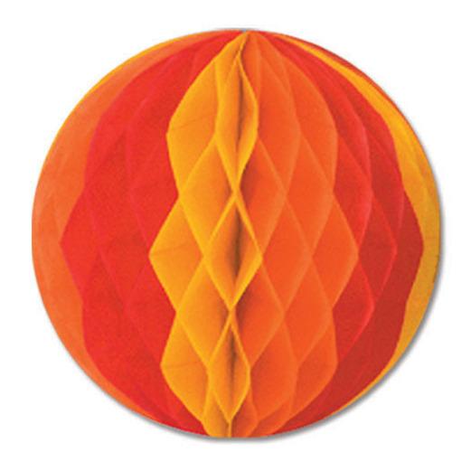 Thanksgiving Decorations Gold, Orange, Red Tissue Ball Image