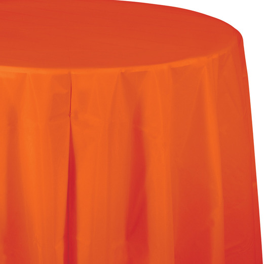 Halloween Table Accessories Round Table Cover Orange Image