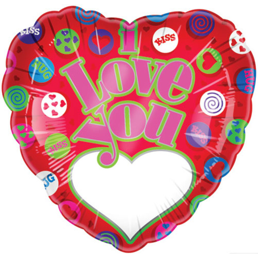 Valentine's Day Balloons I Love You Hugs & Kisses Mylar Balloon Image