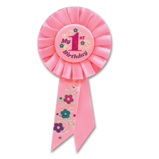 "Birthday Party Favors & Prizes ""My 1st Birthday"" Pink Rosette Ribbon Image"