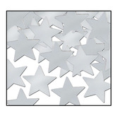 New Years Decorations Silver Metallic Stars Confetti Image