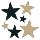 New Years Decorations Black and Gold Glittered Stars Image