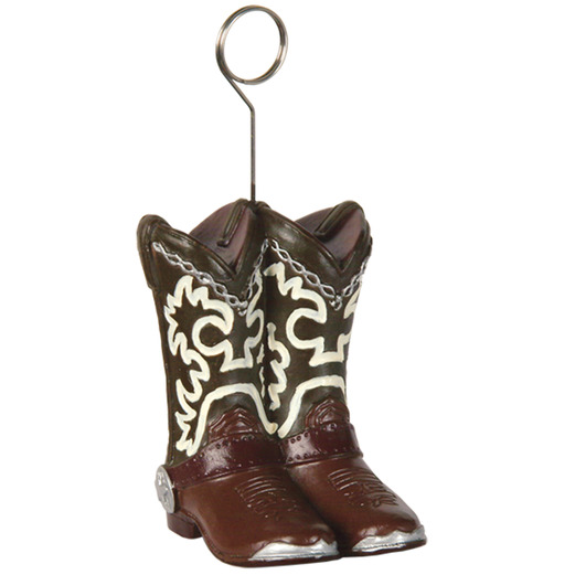 Western Decorations Cowboy Boots Photo and Balloon Holder Image