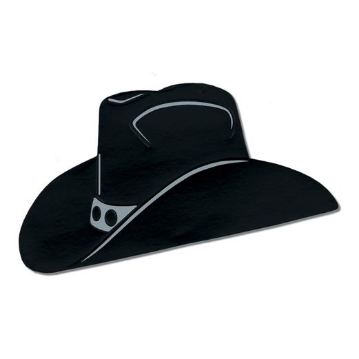 Western Decorations Black Foil Cowboy Hat Cutout Image
