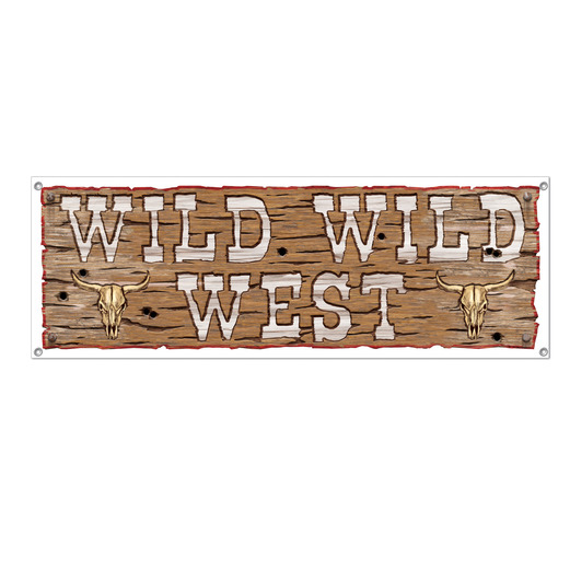 Western Decorations Wild West Sign Banner Image