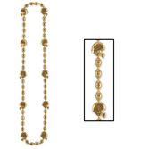 Sports Party Wear Football Beads Gold Necklace Image
