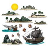 Pirates Decorations Pirate Ship and Island Props Image