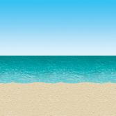 Luau Decorations Blue Sky & Ocean Backdrop Image