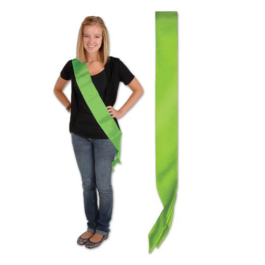Party Wear Lime Green Satin Sash Image