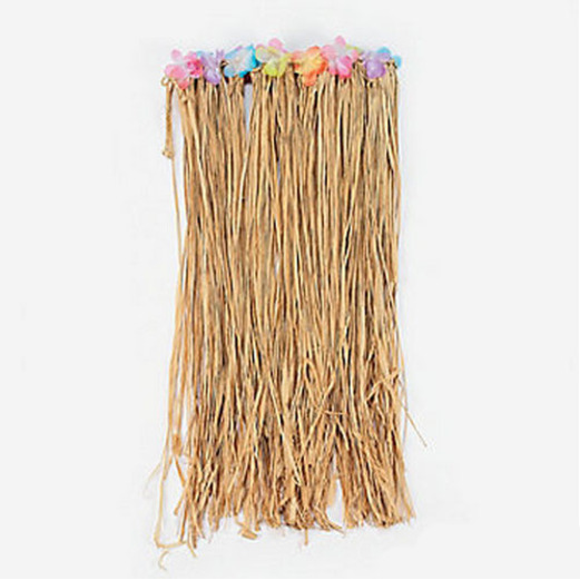 Luau Party Wear Raffia Flowered Hula Skirt Image