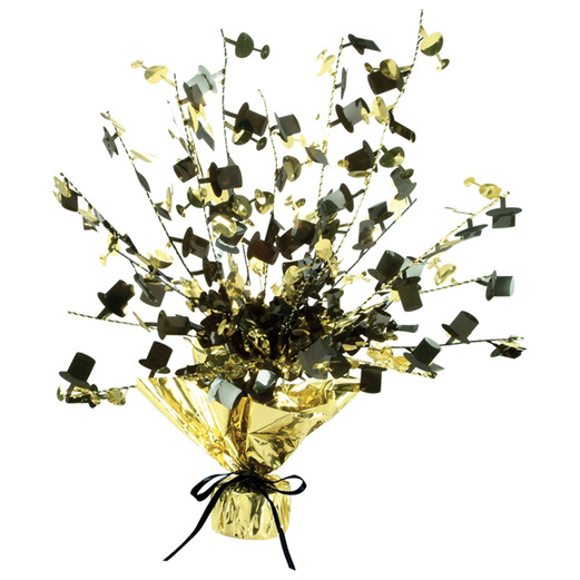 New Years Decorations Black and Gold Champagne Glass & Top Hat Centerpice Image