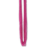 Valentine's Day Party Wear Hot Pink Metallic Bead Necklaces Image