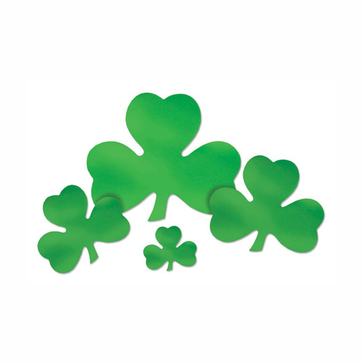 "St. Patrick's Day Decorations 12"" Foil Shamrock Cutout Image"