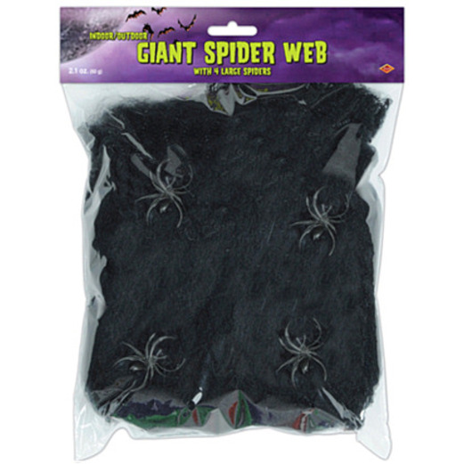 Halloween Decorations Giant Black Spider Web Image