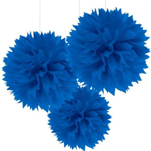 4th of July Decorations Blue Fluffy Tissue Balls Image