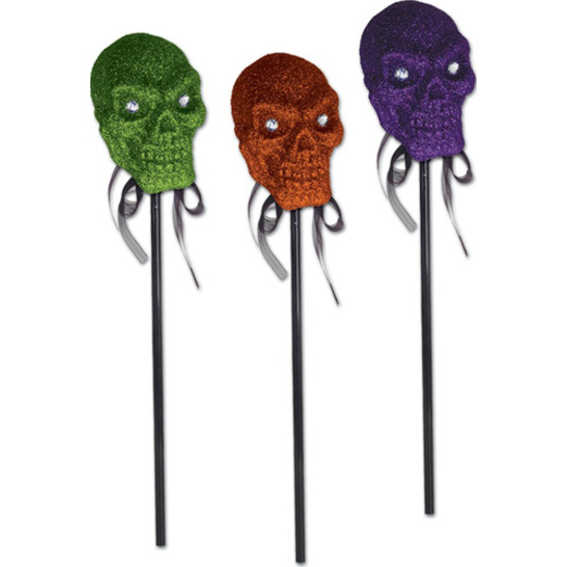 Halloween Decorations Glittered Skull on a Stick Image