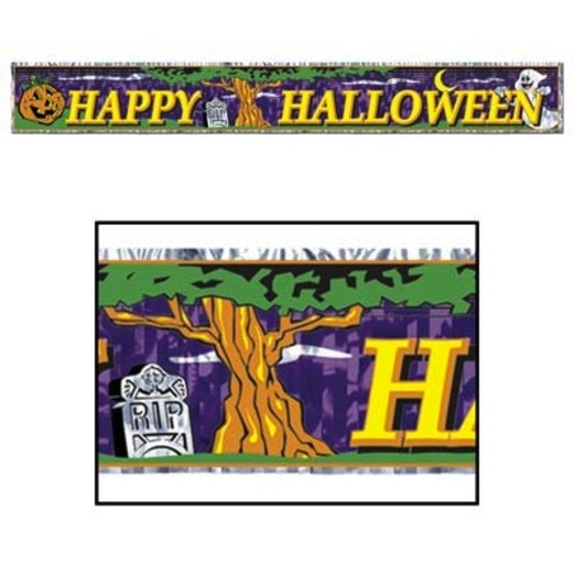 Halloween Decorations Metallic Happy Halloween Fringe Banner Image