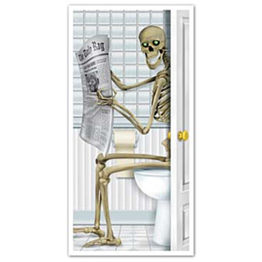 Halloween Decorations Skeleton Restroom Door Cover Image