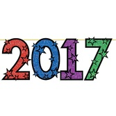 New Years Decorations Multicolor Glittered 2017 Streamer Image