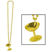New Years Party Wear Gold Champagne Glass Bead Necklace Image