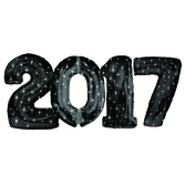 New Years Balloons Black 2017 Jumbo Mylar Balloons Image
