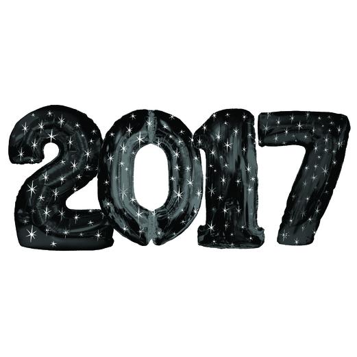 New Years Balloons Black 2017 Jumbo Mylar Balloons Image