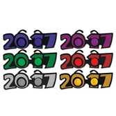 New Years Party Wear 2017 Plastic Glittered Glasses Image