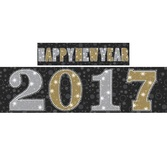 New Years Decorations 2017 Black, Silver, and Gold Happy New Year Backdrop  Image