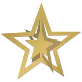 Awards Night & Hollywood Decorations Gold 3-D Foil Hanging Star Image