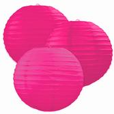 Fifties Decorations Hot Pink Paper Lanterns 6pkg Image