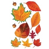 Thanksgiving Decorations Fall Leaves with Acorns Image