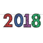 New Years Decorations Multicolor Glittered 2018 Streamer Image