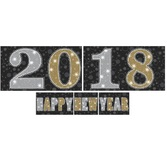 New Years Decorations 2018 Black, Silver, and Gold Happy New Year Backdrop  Image